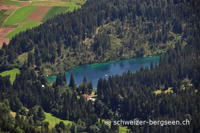 Klettersteig Pinut : Sicht vom klettersteig pinut auf den crestasee flims